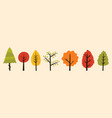 bundle colorful autumn trees with green red vector image