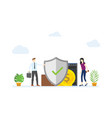 business protection concept with big shield vector image vector image