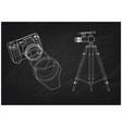 cameras on black 3d vector image