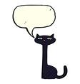 cartoon black cat with speech bubble vector image vector image