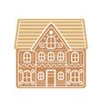 cartoon festive gingerbread house isolated on a vector image