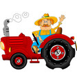 cheerful tractor driver vector image vector image