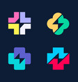 collection of crosses with flash inside vector image vector image