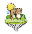 color couple bear animal in the float island vector image vector image