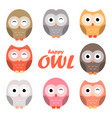 colorful owl cartoon set vector image vector image