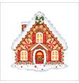 cute cartoon christmas gingerbread house vector image