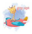 cute cartoon giraffe on an airplane vector image vector image