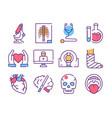 disease diagnostics color linear icons set vector image vector image