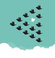 flock birds flying in sky vector image vector image