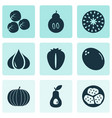 fruit icons set with berry kiwano duchess and vector image