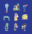 funny zombie isolated labels set vector image vector image