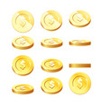 golden coins set in rotation stages - flying vector image vector image