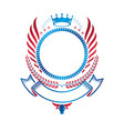 graphic winged emblem composed with royal crown vector image vector image