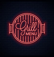 grill menu neon logo bbq grill neon sign on wall vector image vector image