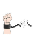 hand clenched into fist with tearing chain or vector image vector image