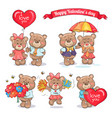 happy valentines day teddy bears couples in love vector image vector image