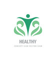 healthy human logo design green leaves nature vector image