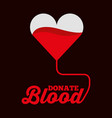 heart shaped bag donate blood symbol vector image vector image