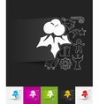 holly berries paper sticker with hand drawn vector image