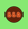letters bbq on the grill grilled meat steak on vector image