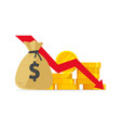 money loss flat cartoon cash vector image