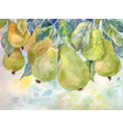 pears on the tree watercolor autumn background vector image vector image