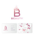 pink b letter flying butterflies beauty logo vector image vector image