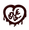 Realistic chocolate heart splash love is vector image