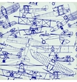 Retro seamless pattern old airplanes drawing vector image vector image