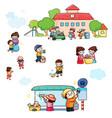 school volunteer cleaning day children vector image vector image