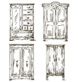 set hand drawn wardrobes interior vector image vector image