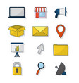 set of online business icons vector image