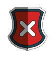 shield with wrong icon vector image