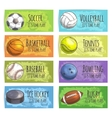 Team sport banners with balls vector image vector image
