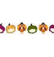 thanksgiving turkey and pumpkins wearing a face vector image vector image