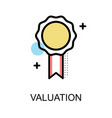 valuation icon with medal on white background vector image vector image