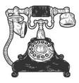 vintage telephone sketch scratch board imitation