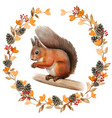 watercolor realistic red squirrel in a fall wreath vector image