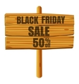 Wooden sign black friday sale icon cartoon style vector image vector image