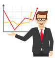 young businessman showing positive line charts vector image vector image