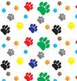 Pattern color dog animal foot print vector image