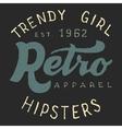 Retro trendy girl label vector image