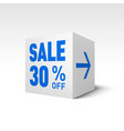 cube banner template thirty percent off discount vector image