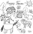 Happy farm doodles icons set Hand drawn sketch vector image