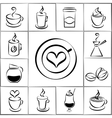 Set of freehand doodle sketch coffee icons vector image