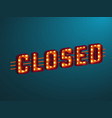 3d retro closed sign vector image vector image
