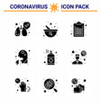 9 solid glyph black viral virus corona icon pack vector image vector image