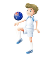 A soccer player playing with the ball from vector image
