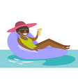 african-american woman relaxing in swimming pool vector image vector image