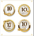 anniversary golden labels retro vintage design vector image vector image